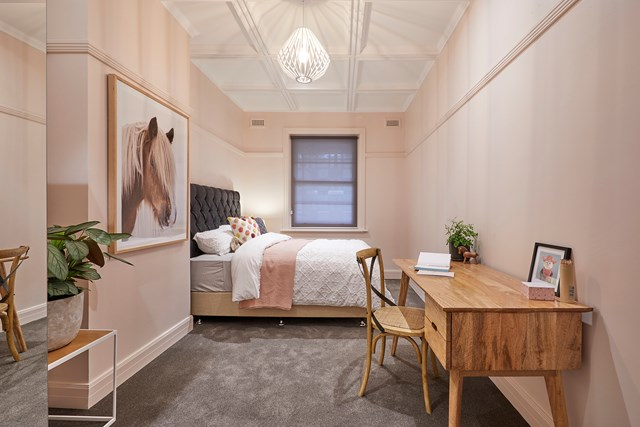"Kerrie and Spence's coffered ceiling in their [kids' bedroom](https://www.homestolove.com.au/the-block-2018-kids-bedroom-reveals-7098|target=""_blank"") blew everyone away."