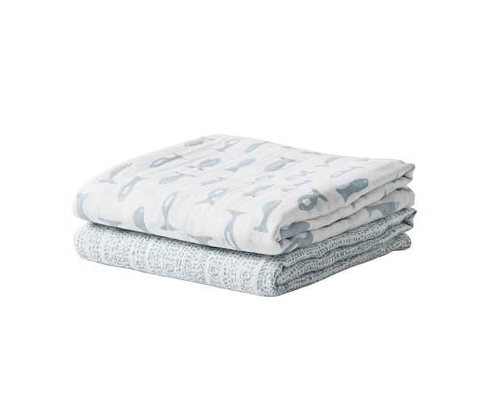 """**Wrap me up** Swaddling has never looked so adorable and chic. 'Under The Sea' cotton muslin wraps, $59.90/assorted set of 2, [Città](https://www.cittadesign.com/