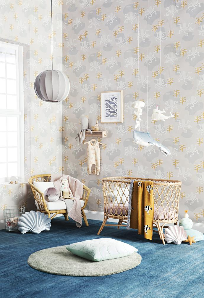 **Under the sea** Float away with the dreamy colours and ocean-inspired shapes of this sweet nursery. *Styling: Natalie Johnson with assistance by Nonci Nyoni and Brodie Kiah | Photography: Sam McAdam-Cooper.*