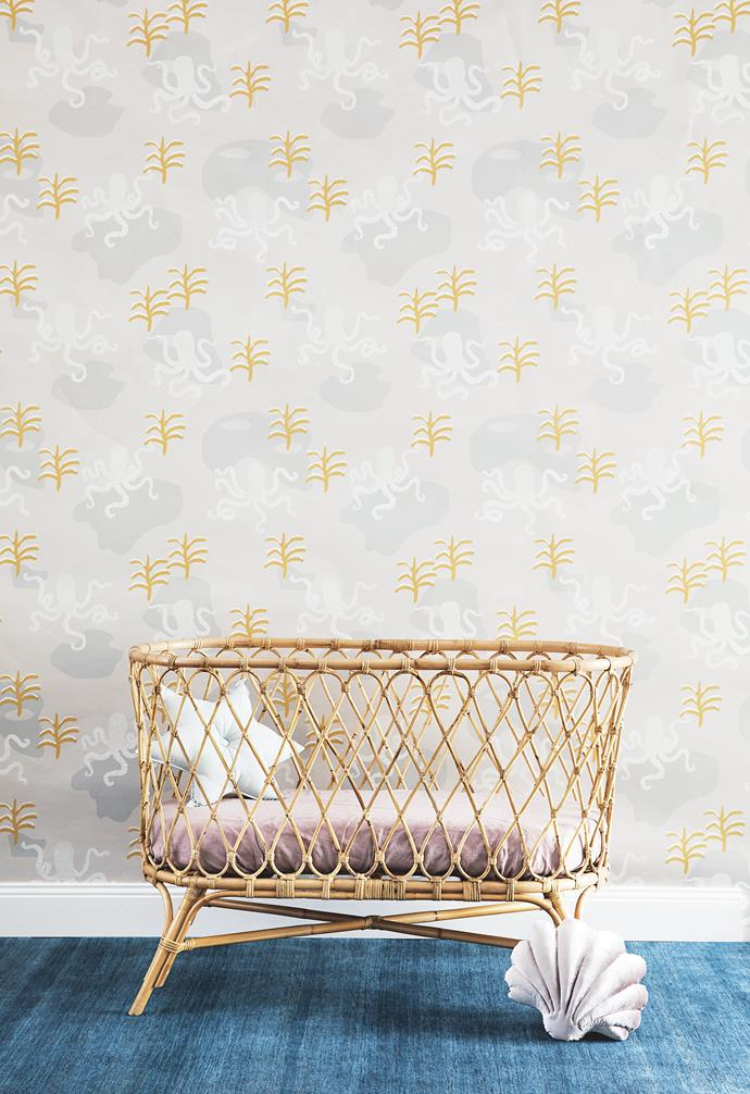 """**Sweet dreams** After sailing the high seas (well, bath time), your little one needs a place to rest before the next big adventure. 'Folk' bassinet, $549, [The Rattan Collective](https://www.therattancollective.com.au/