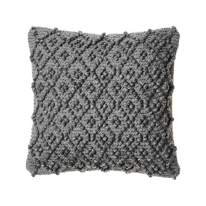 "Dali Cushion in Coal Marle, [Adairs](https://www.adairs.com.au/homewares/cushions/home-republic/dali-cushion-45x45cm-coal-marle/|target=""_blank""|rel=""nofollow"")"
