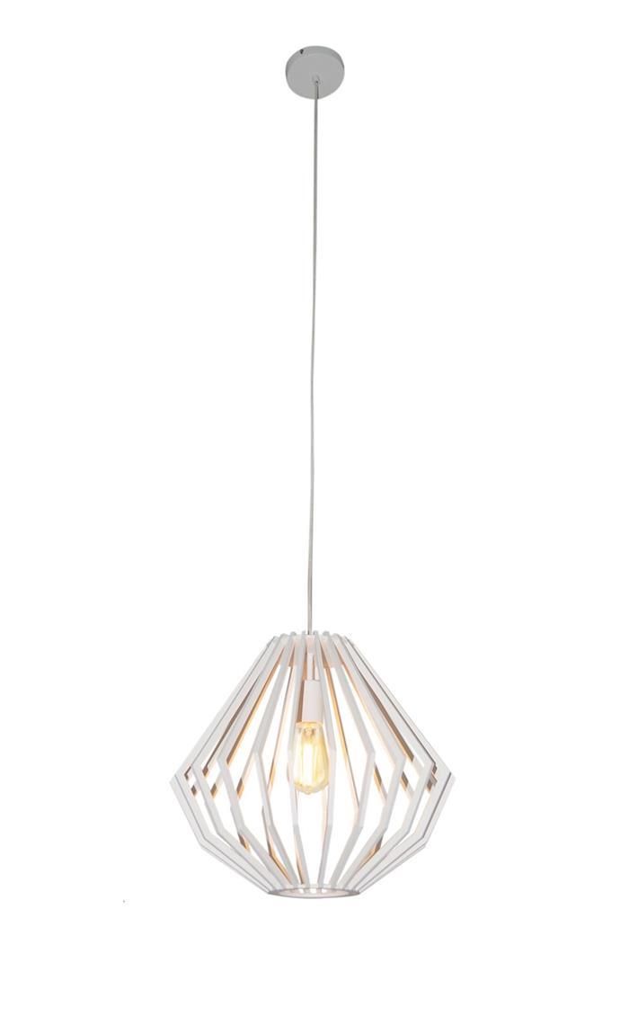 "Walderik Medium Squat Pendant in White, $289, [Beacon Lighting](https://www.beaconlighting.com.au/walderik-medium-squat-pendant-in-white|target=""_blank""|rel=""nofollow"")"