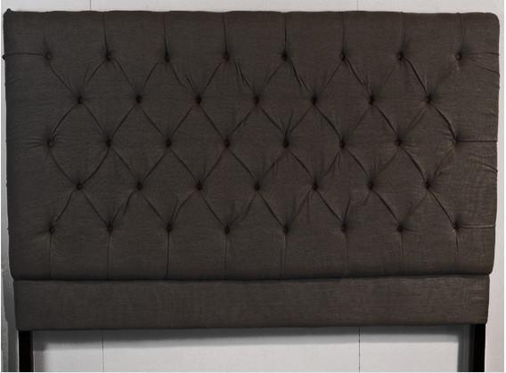 """Cambridge Buttoned Headboard Queen Size in Black Herringbone, $995, [French & English](https://frenchandenglish.com.au/collections/bedheads/products/queen-size-cambridge-buttoned-headboard