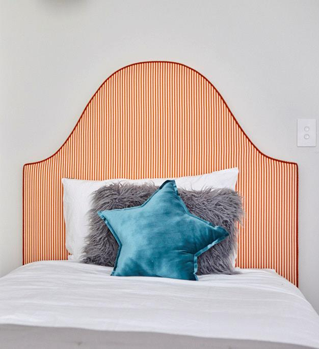 """Genevieve Bedhead Orange and White Striped Linen , from $1640, [Heatherly Design Bedheads](https://www.heatherlydesign.com.au/product/genevieve/