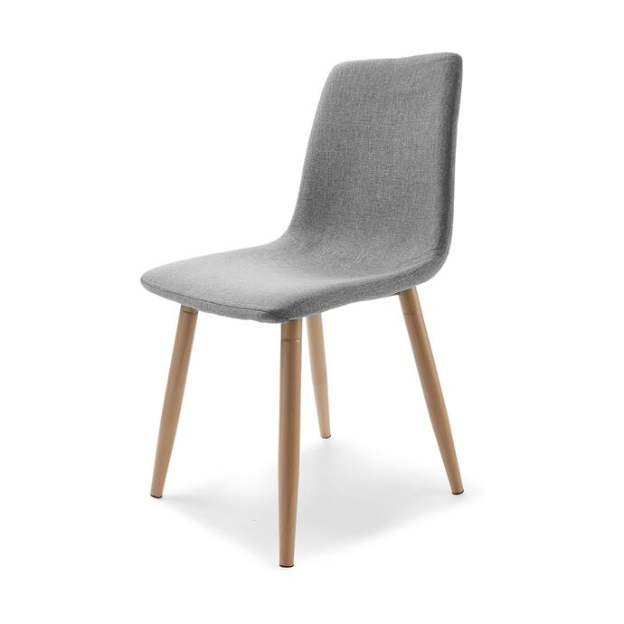 """Grey/Wooden Legs Upholstered Chair, $39, [Kmart](https://www.kmart.com.au/product/upholstered-dining-chair/1178808