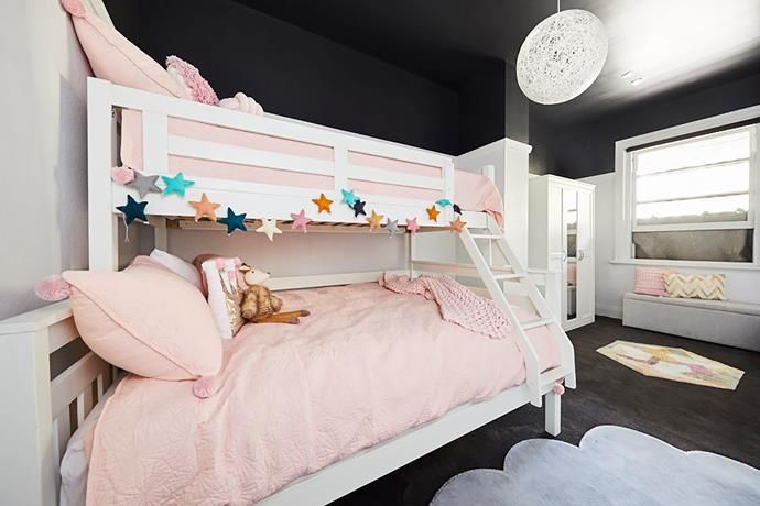 **Bianca and Carla** produced a bold and contemporary room where the dark ceiling made the pastel pink accents pop.