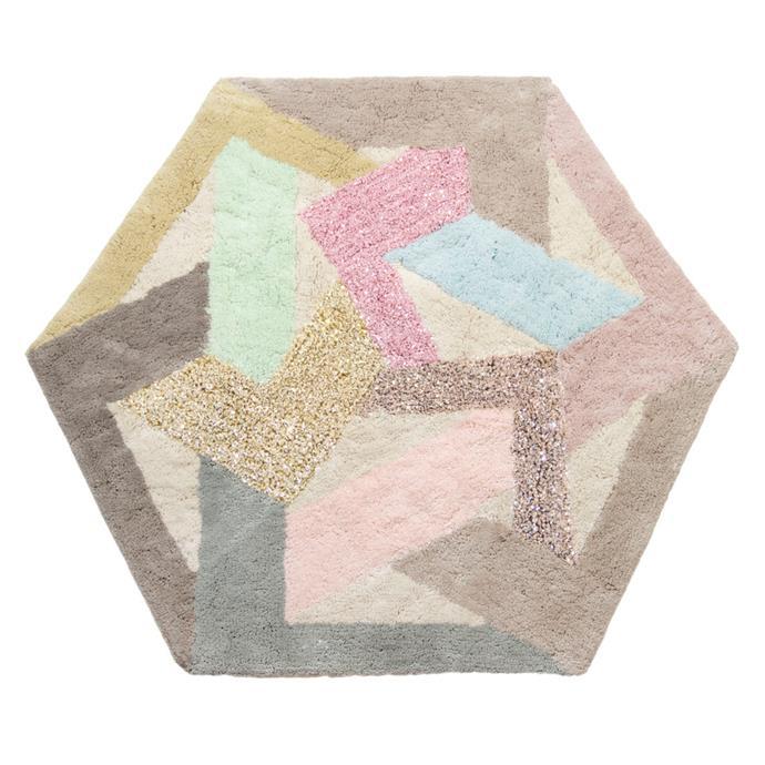 "Vesta Floor Rug by Ziporah Lifestyle, $349, [The Block Shop](https://www.theblockshop.com.au/store/single/vesta-floor-rug|target=""_blank""|rel=""nofollow"")"