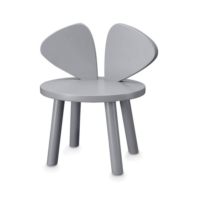 """Nofred Mouse Chair, $369, [My Little Giggles](https://www.mylittlegiggles.com/shop/nofred-mouse-chair-grey-display-stock/