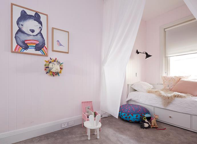 **Jess and Norm** wanted to create a room fit for a princess with pastel tones, floor-to-ceiling drapes and playful artwork.