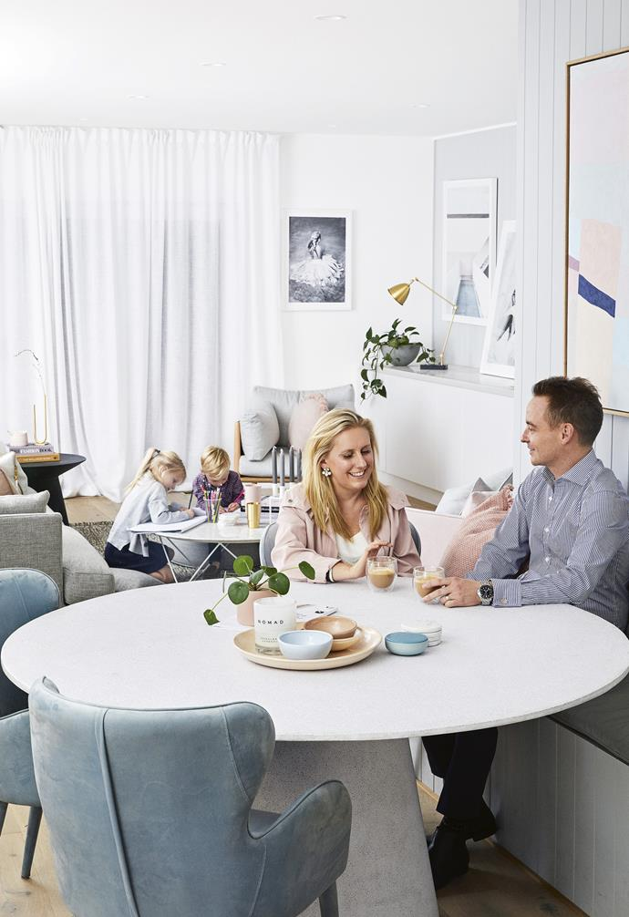 **Dining area** Nat and Dan enjoy a coffee while Annabel and Harvey play.