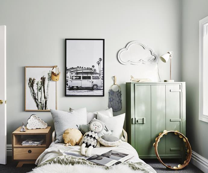"**Harvey's room** A green and grey palette has resulted in a fun space for a little boy, with plenty of space to display toys and treasured items. The army-green [HK Living](http://hkliving.com.au/|target=""_blank""