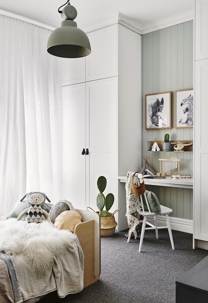 """**Colour crush** Harvey's bedroom is painted in [Dulux](https://www.dulux.com.au/ target=""""_blank"""" rel=""""nofollow"""") Spanish Olive, a soft grey-green. """"We found this colour and the blush for Annabel's room [Mornington Half] in the Dulux 'Essential' palette, part of its 2018 colour forecast,"""" says Nat. **Work and play** In each of the kids' rooms, Nat designed a small desk between the wardrobes, adding a Caesarstone top and Easycraft panelling to tie in with the design of the rest of the house. Artwork: Limited edition art prints by mrs mighetto, find similar at [Norsu interiors](https://norsu.com.au/ target=""""_blank"""" rel=""""nofollow"""")."""