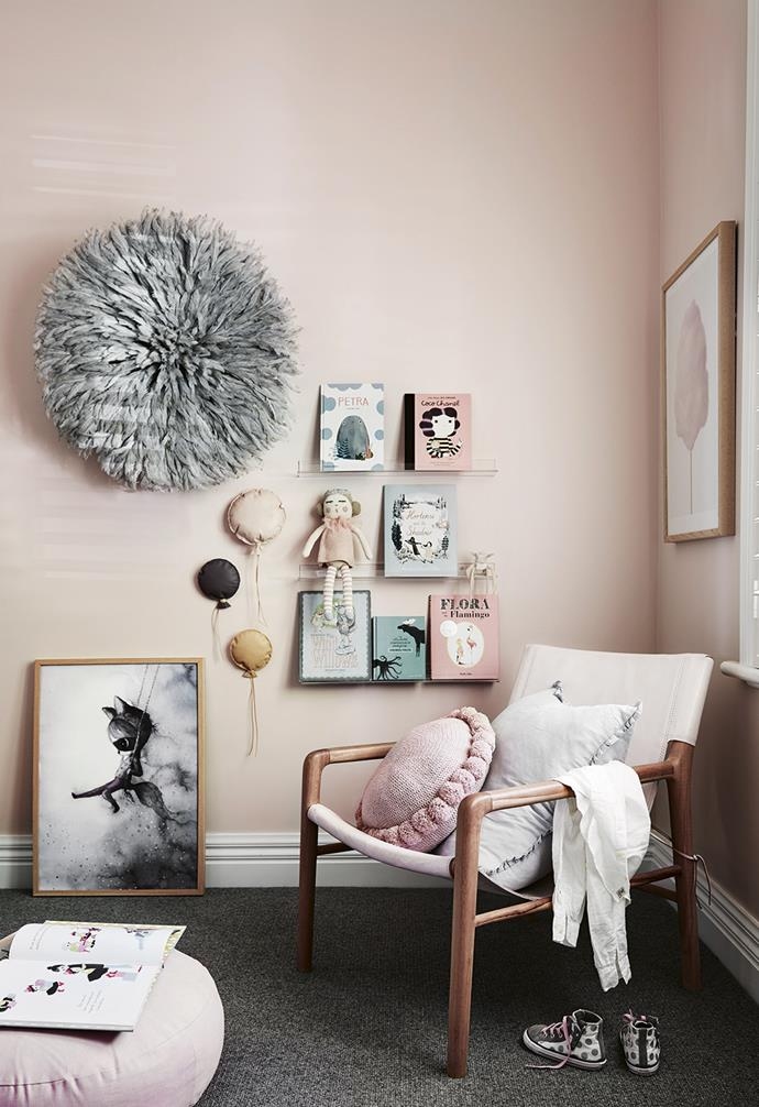 "**Size matters** With generously sized and proportioned kids' rooms, Nat was able to add extra furniture pieces and layer with art and books. **Annabel's room** Narrow shelving ensures Annabel's favourite books are always within easy reach. A Barnaby Lane 'Smith' armchair and Little Connoisseur floor cushion make story time comfortable for everyone. Artwork (from left): *The End of the Forest Mr Charlie* by Mrs Mighetto, Honeyhoney Creations leather wall balloons, *Kreativitum Cotton Fairy Floss Pink* by Linn Johansson & Karolina Gullberg, all [Norsu Interiors](https://norsu.com.au/|target=""_blank""
