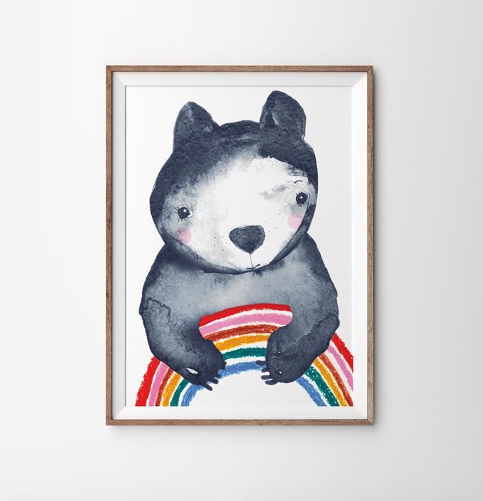"'Violet Eyes' Rainbow Hugs Art Print (49x70cm), $99, [The Block Shop](https://www.theblockshop.com.au/store/single/rainbow-hugs-art-print|target=""_blank""|rel=""nofollow"")"
