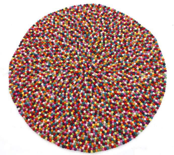 "Gallery Eight Loves Felt Ball Rug, $399, [The Block Shop](https://www.theblockshop.com.au/store/single/felt-ball-rug-140-cm|target=""_blank""|rel=""nofollow"")"
