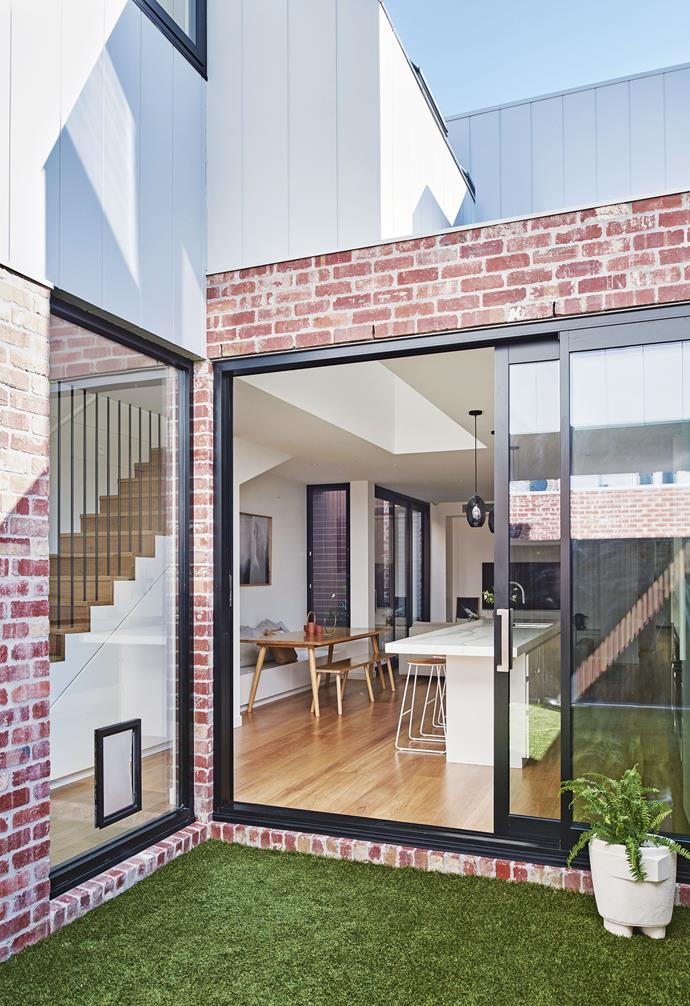 "**Exterior** In honour of the home's heritage, red brick is playfully paired with stark contemporary white.  'Weathergroove' cladding, [Weathertex](http://weathertex.com.au/|target=""_blank""