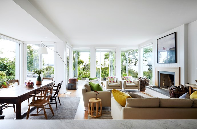 With easy connection to the deck and an open fireplace, this room is set for all seasons.