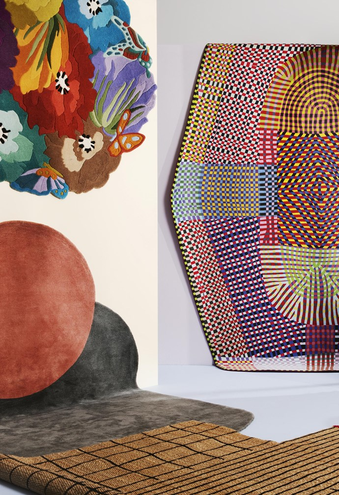 "**Shape shifters** *On walls, from left*: Missoni Home 'Vigevano #100' floral rug, $4932/180cm, [Spence & Lyda](https://www.spenceandlyda.com.au/|target=""_blank""