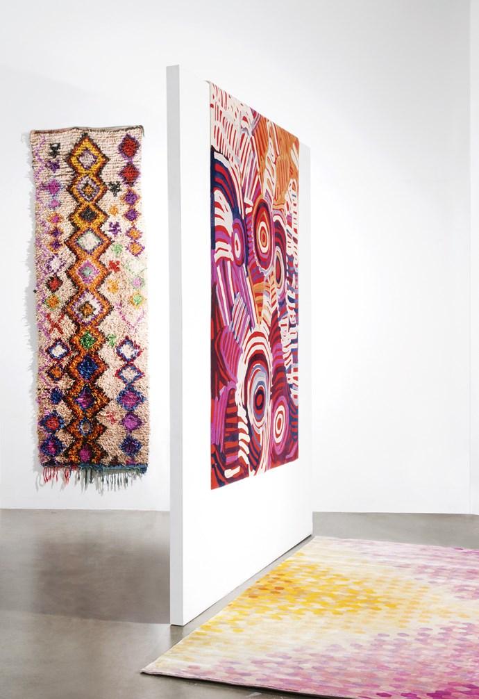 "**Works of art** *On walls, from left*: 'Nora' boucherouite rug, $795/100cm x 290cm, [Jumbled](https://www.jumbledonline.com/|target=""_blank""|rel=""nofollow""). 'Celebration' rug by Minnie Pwerle, $10,840/200cm x 300cm, [Designer Rugs](https://www.designerrugs.com.au/|target=""_blank""|rel=""nofollow""). *On floor, from left*: 'The Sign' rug, $11,888/270cm x 360cm, [Fenton&Fenton](https://www.fentonandfenton.com.au/|target=""_blank""|rel=""nofollow"")."