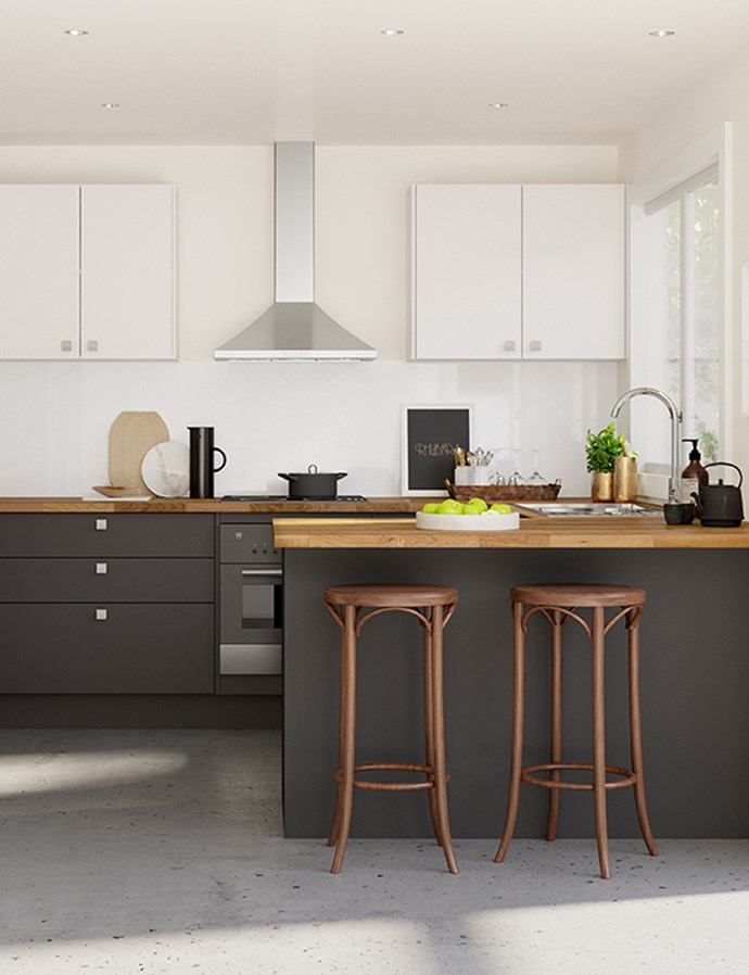 "COLOURS & FINISHES: Sour Cream and Grey Spice doors in modern profile, Euro Oak benchtops, Sago Pudding splashback and Square knobs [from Kaboodle Kitchen](https://www.kaboodle.com.au/inspiration-gallery/modern-delight|target=""_blank""