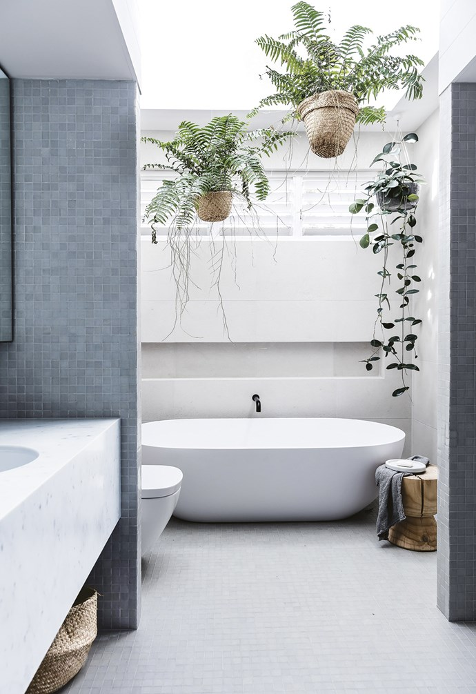 """**Bathroom** Hanging greenery adds life to this peaceful space. Tiles, [Artedomus](https://artedomus.com/
