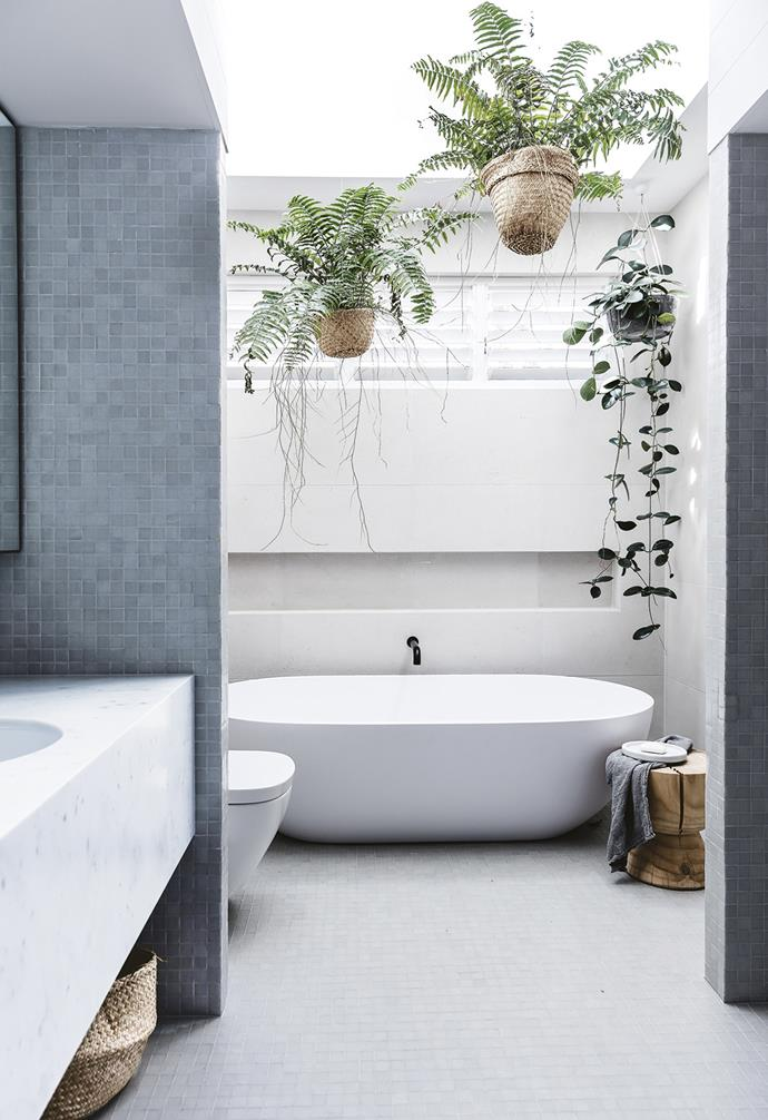 "**Bathroom** Hanging greenery adds life to this peaceful space. Tiles, [Artedomus](https://artedomus.com/|target=""_blank""