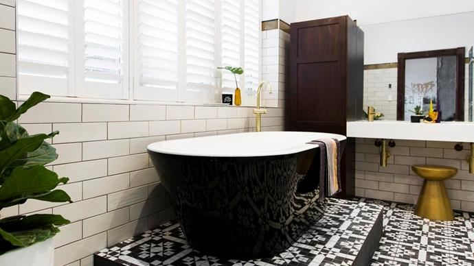 **The Block 2016: Carleen and Dan** To pay homage to the building they were renovating, Carleen and Darren created an Art Deco bathroom with a modern twist. Pattern feature tiles on the floor, a bold black bathtub and hints of gold throughout combined to create a glamorous space that will never date.