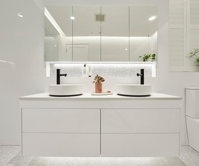 **Courtney and Hans** The recessed shelf also highlights the terrazzo.