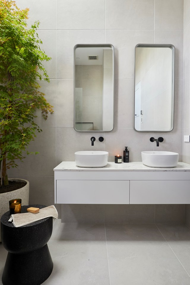 """Jess and Norm have already delivered a penthouse-perfect [main bathroom on The Block](https://www.homestolove.com.au/the-block-2018-bathroom-reveals-7145 target=""""_blank"""") so far."""