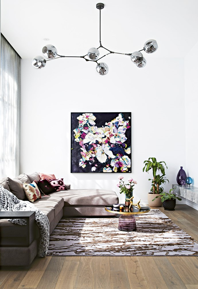 """**Sanctuary** Their take on a 'good front room', Josie and Mark have created what they call their 'sanctuary' at the rear of the ground floor. 'Jasper' modular sofa, [King Living](https://www.kingliving.com.au/