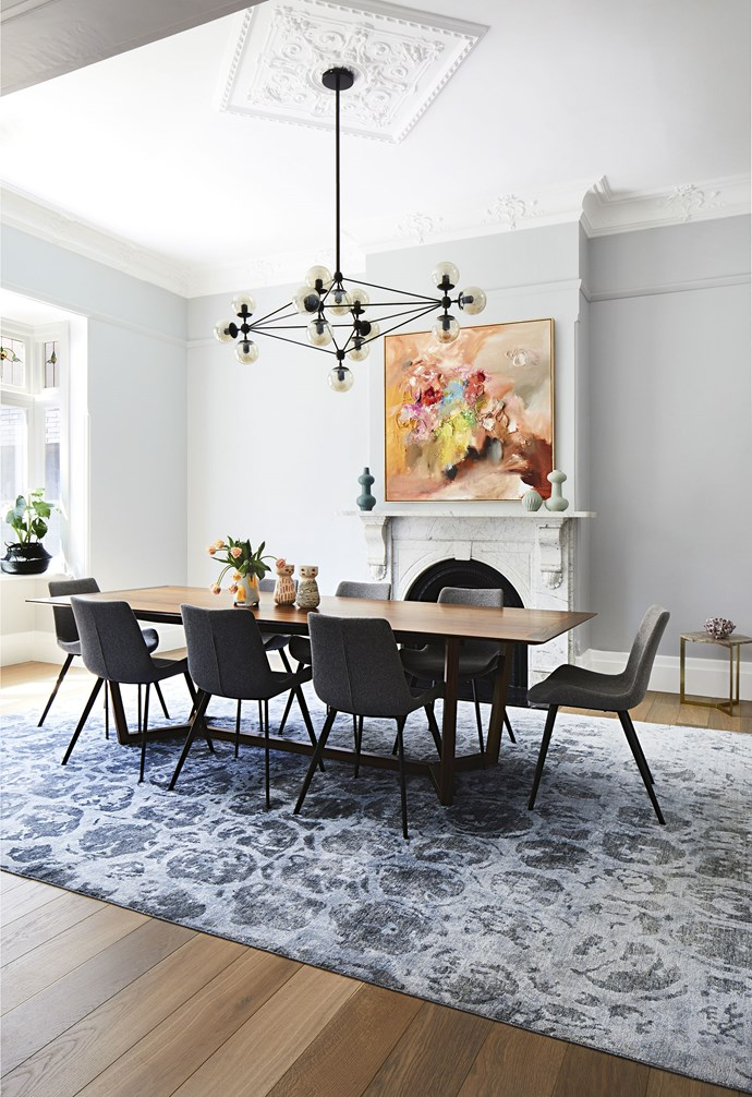 """**Dining area** A large rug fills the grandly proportioned room, and a vibrant artwork by Laelie Berzon from Fenton&Fenton adds colour. Rug, [RC+D](https://www.rc-d.com.au/