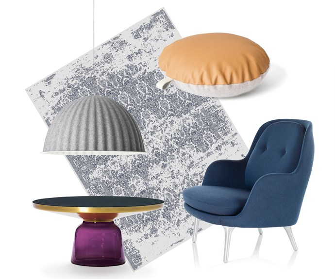 """**Modern luxe** Soft furnishings in a restrained palette with pops of bold colour make this a contemporary look. **Get the look**  (clockwise left to right) Muuto 'Under The Bell' pendant lamp, $1285, [Living Edge](https://livingedge.com.au/