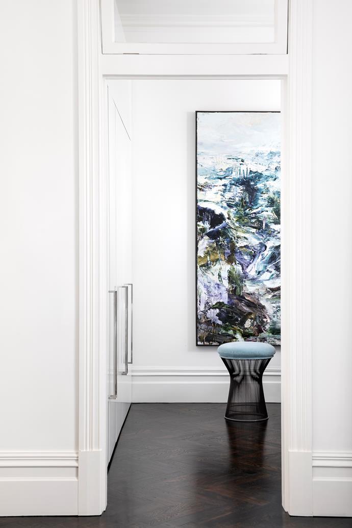 Artwork by Aaron Kinnane. KnollStudio 'Platner' stool from De De Ce.