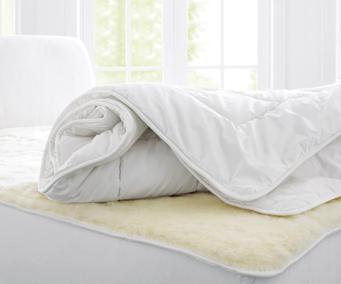 "**Quilts** Deluxe wool quilt, $429.95/queen, [Sheridan](https://www.sheridan.com.au/|target=""_blank""|rel=""nofollow"")."