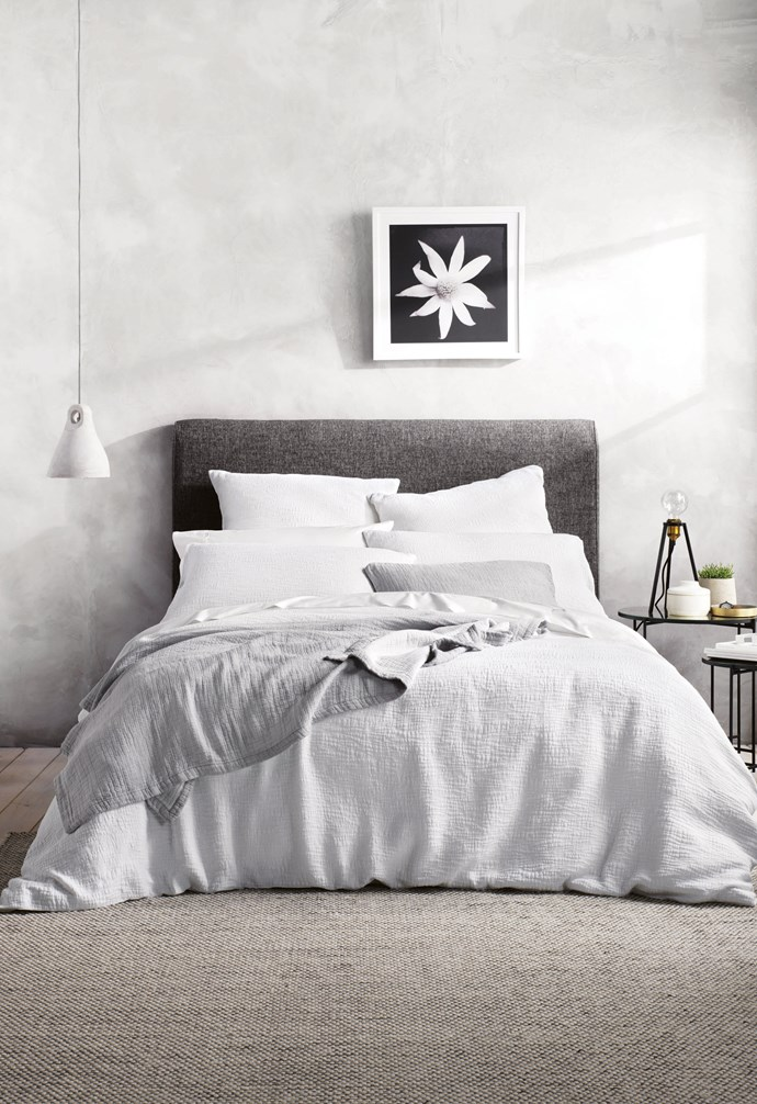 """**Resting easy** The right pillow is essential for peaceful slumber and neck support. 'Miltons' quilt cover, $299.95/queen, pillowcases, $79.95/pair & European pillowcases, $69.95 each, [Sheridan](https://www.sheridan.com.au/