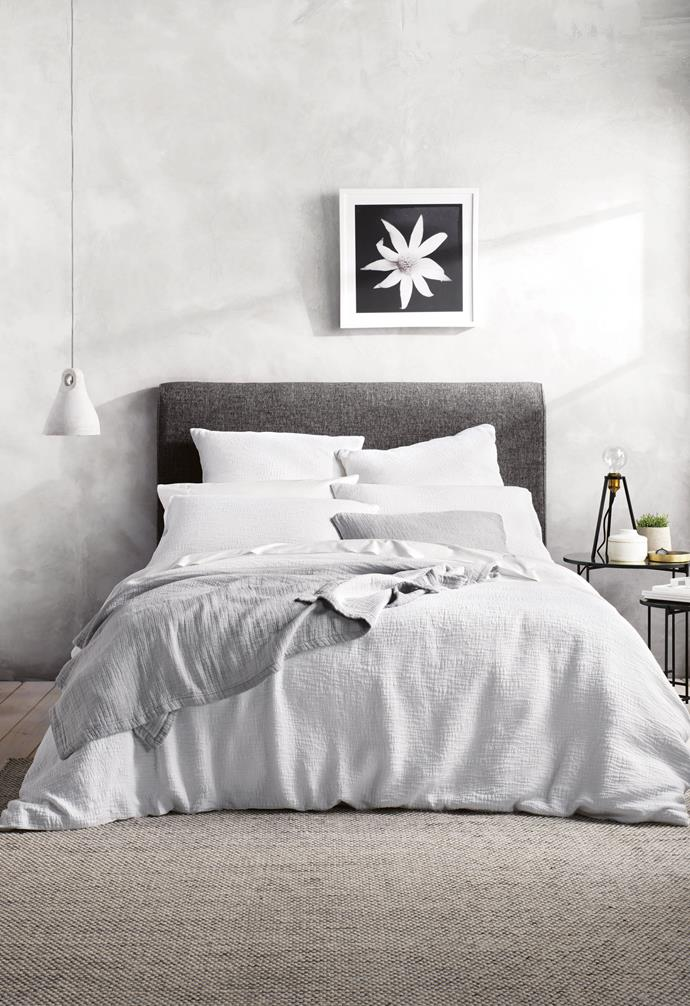 "**Resting easy** The right pillow is essential for peaceful slumber and neck support. 'Miltons' quilt cover, $299.95/queen, pillowcases, $79.95/pair & European pillowcases, $69.95 each, [Sheridan](https://www.sheridan.com.au/|target=""_blank""
