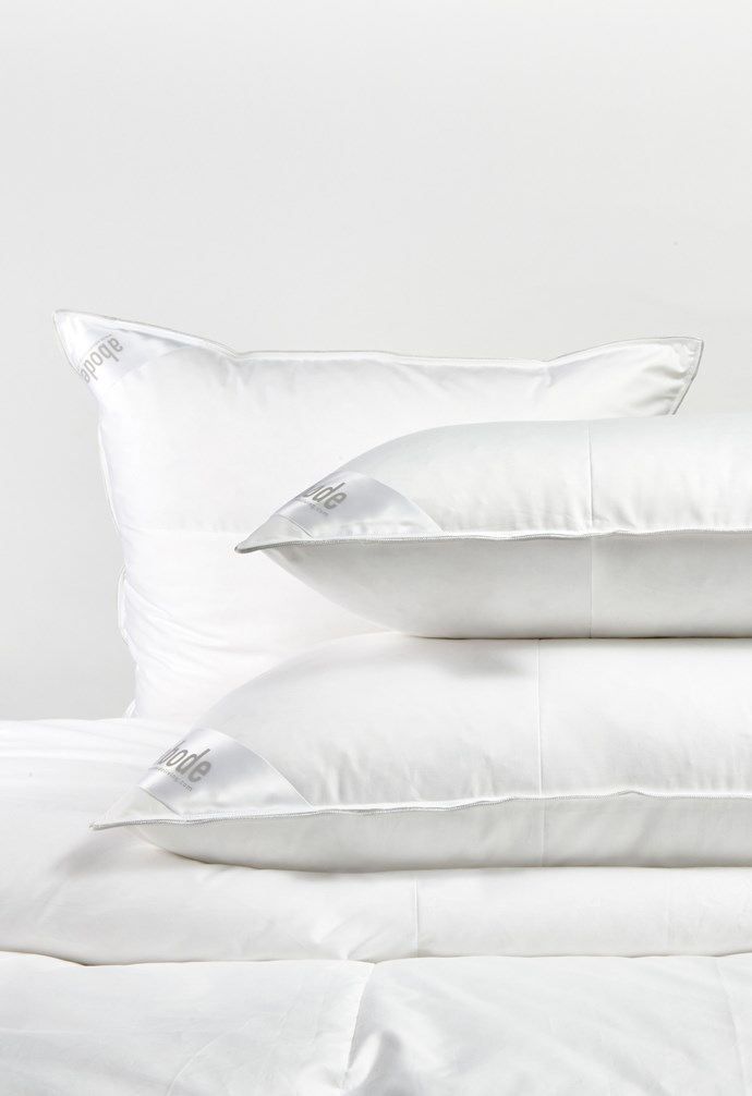 """**Pillows** 'Hungarian 50' mid-profile feather and down pillows, (from top) from $269/European, from $229/standard, from $269/king, [Abode Living](https://www.abodeliving.com/