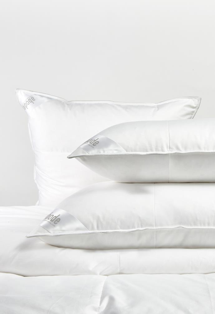 "**Pillows** 'Hungarian 50' mid-profile feather and down pillows, (from top) from $269/European, from $229/standard, from $269/king, [Abode Living](https://www.abodeliving.com/|target=""_blank""