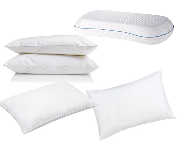 "**Pillows** (clockwise left to right) Home 'Supreme Comfort' medium-profile polyester pillows, $18/pair, [Kmart](https://www.kmart.com.au/|target=""_blank""