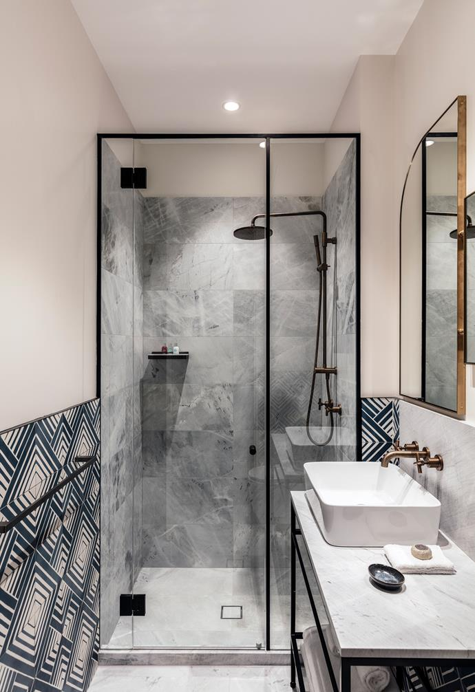 "**Wild tiles** Consider placing different [tiles](http://www.homestolove.com.au/bathroom-tile-ideas-5447|target=""_blank"") in the shower stall and the rest of the bathroom to create a dramatic difference in zones."