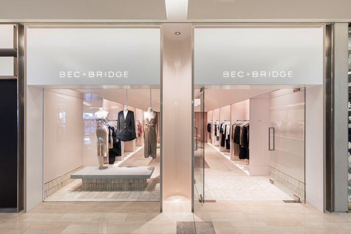 The Westfield Bondi Junction store is paved in creamy herringbone pattern. *Photo: Tom Ferguson*