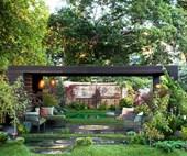 A wellness garden with a Japanese influence