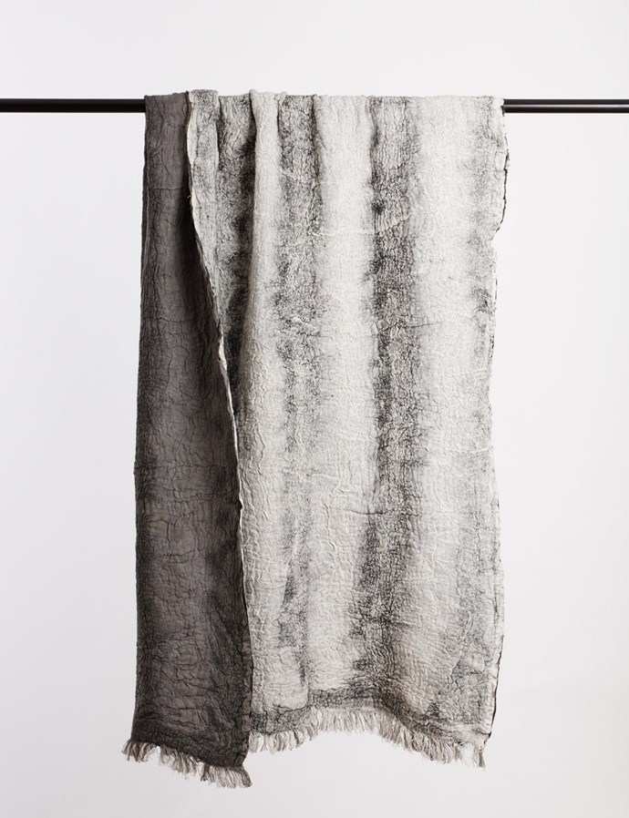 """'Astrid' linen and merino wool **throw**, $495, from [Abode Living](https://fave.co/2vR0Be9 target=""""_blank"""" rel=""""nofollow"""")."""