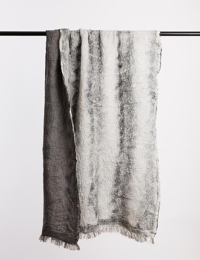 "'Astrid' linen and merino wool **throw**, $495, from [Abode Living](https://fave.co/2vR0Be9|target=""_blank""