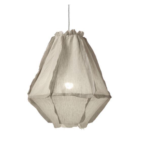 "'Cumulus' linen **pendant light**, $869, from [Zanui](https://fave.co/2MrgP7p|target=""_blank""|rel=""nofollow"")."