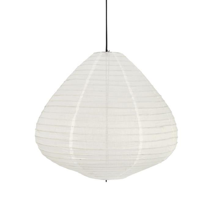 "Fabric **lantern** in natural, $249 (medium), from [Curious Grace](https://fave.co/2vJTBzN|target=""_blank""