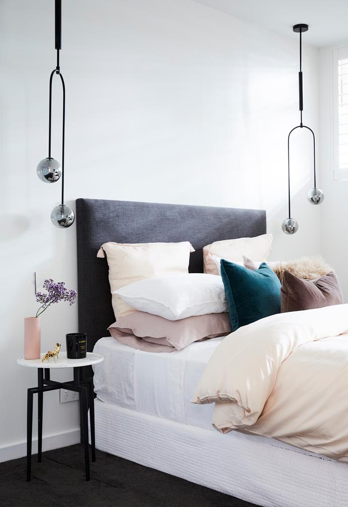 **Courtney and Hans** The couple hit the nail on the head with their choice of bedding - Neale thinks nude is a winner!