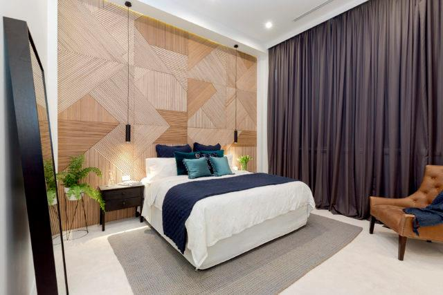 "**The Block 2016 - Will and Karlie** - Achieving third place during master bedroom week, Will and Karlie's bedroom is most memorable for its custom timber feature wall. The extraordinary workmanship displayed by the piece was a hit with the judges who loved the room's [art deco](https://www.homestolove.com.au/modern-art-deco-style-4254|target=""_blank"") references, but were a little underwhelmed by the walk-in wardrobe. Fantastic on its own, Will and Karlie's master was unfortunately unable to stand up against two other strong teams, including Chris and Kim who took out the week's win."