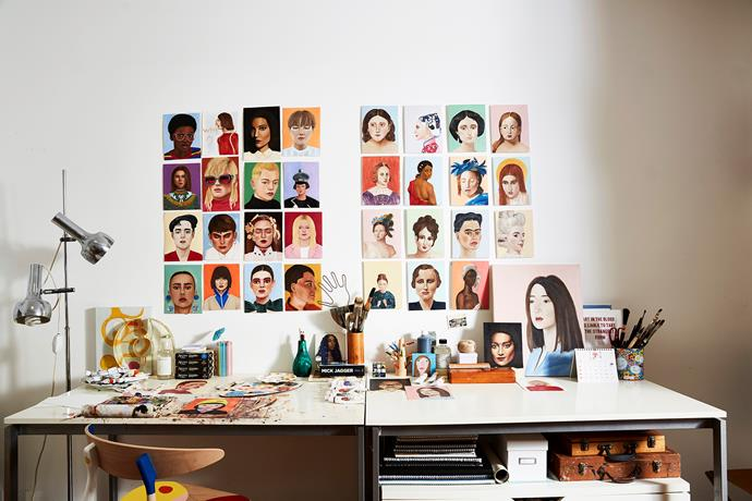 Camille's portraits (pictured here in her inner-Sydney studio) are inspired by the interesting faces she finds on Instagram.