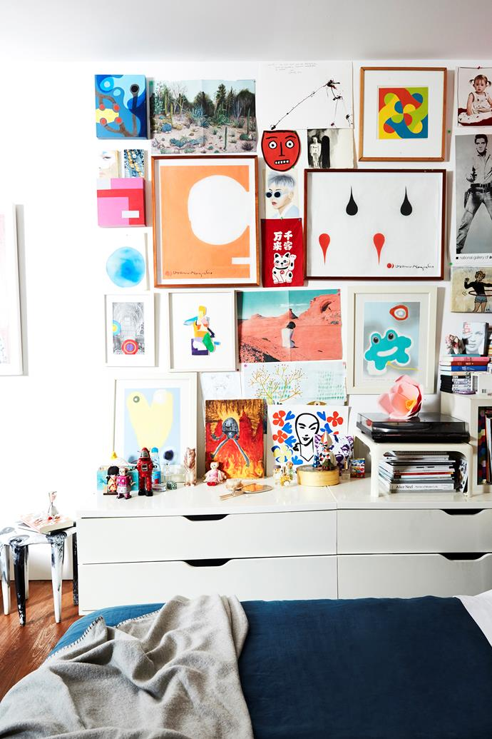A colourful combination of art and collected objects decorate Camille's bedroom and provide a constant source of inspiration.